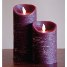 [LED 양초]FLAMELESS CANDLE BURGUNDY DISTRESSED - 진홍색 [5인치]